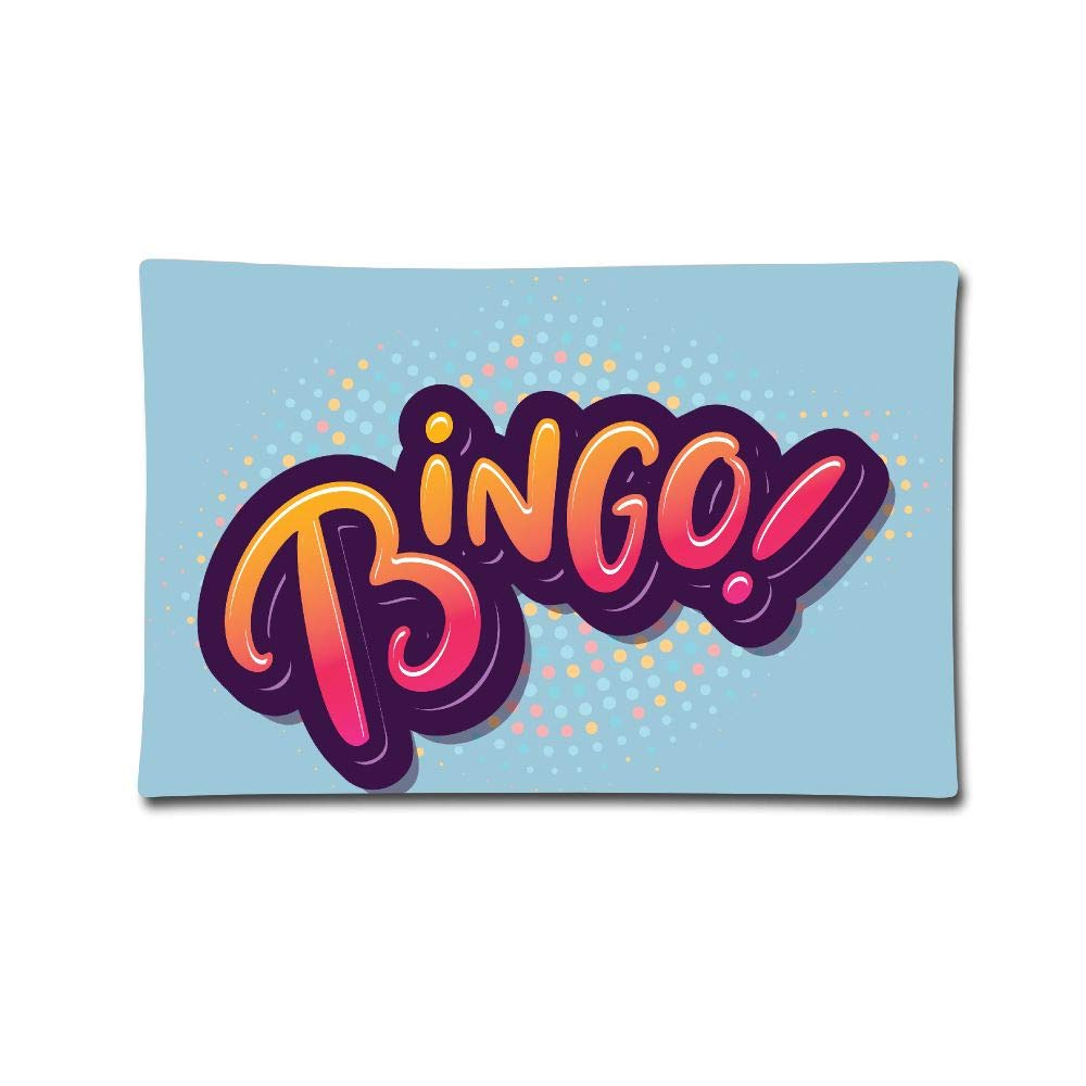 Curitis Pillow Cover 20''X30'' Pillowcases Bingo Logo Print 100% Cotton Standard Case