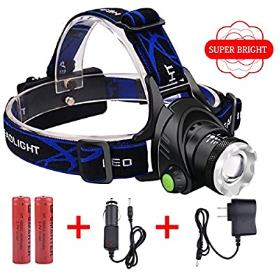 Headlamp, VCOO Zoomable 3 Modes Super Bright LED Headlamp, Waterproof Headlamp Hands-free Headlight with Rechargeable Batteries for Camping Hiking Fishing Riding Hunting