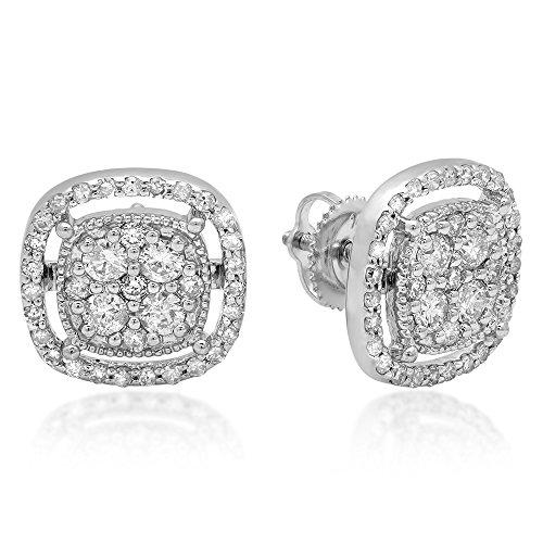 Gold Diamond Cluster Earrings - 1.00 Carat (ctw) 14K White Gold Round Cut White Diamond Ladies Cluster Style Stud Earrings 1 CT