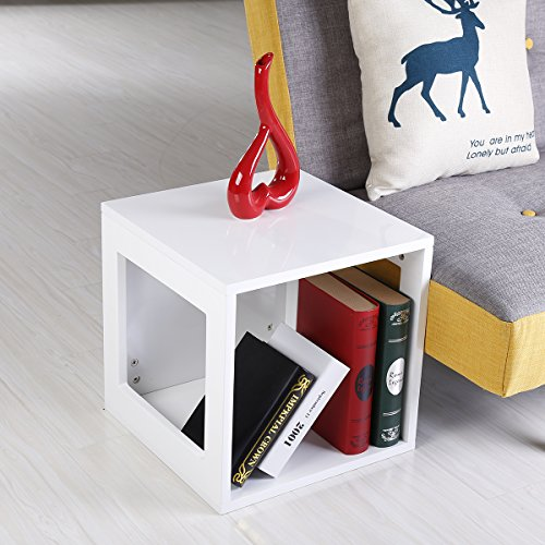 Coffee Table End Side Table Nesting Corner Table Stacking Tea Table (Light White) (Nesting Cube Tables)