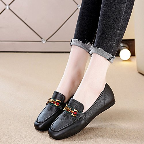 Heeled Shoes Casual Shoes Black Women's Bottom Low Soft Yangjiaxuan Wild Flat Leather Nurse WRYqvanB