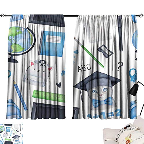 (Room Darkening Wide Curtains Seamless printable pattern on School Theme Perfect for notebook covers kid back pack fabric pen cases various office stationery timetable education kits college boxes pup)