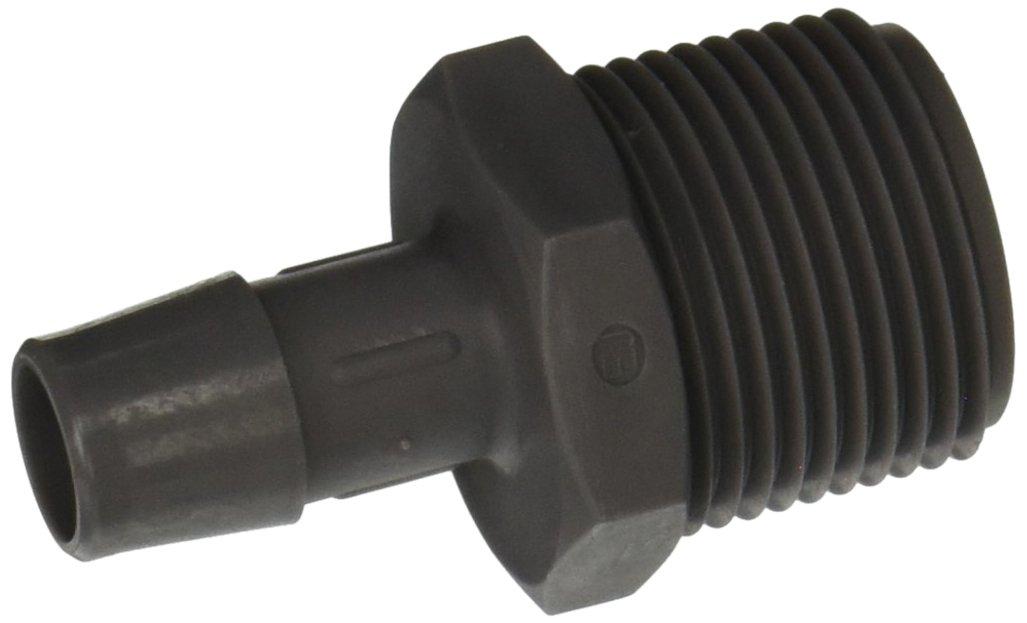 Eldon James A12-8PVDF Gray Kynar Adapter Fitting, 3/4-14 NPT to 1/2'' Hose Barb (Pack of 10)