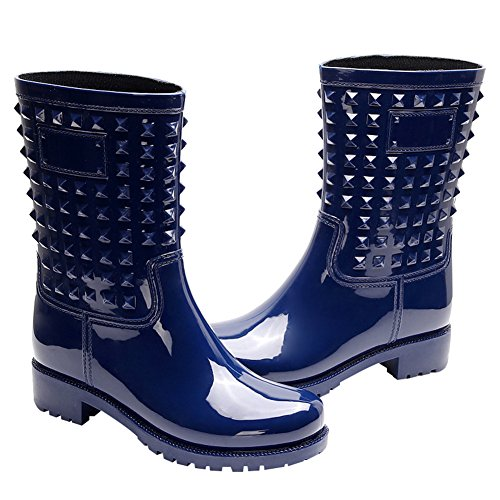Studs Stylish Chunky with Heel Blue Punk Mid Women's Calf Outdoor Snow Boots Slip Boots Wellington Jamron Rain On Style TwAEq511