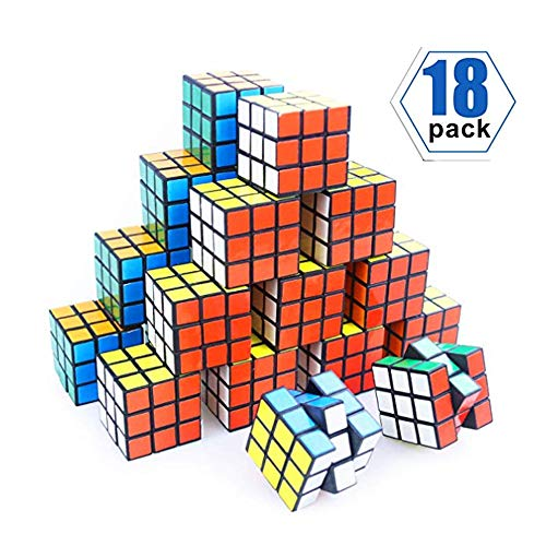 YCS Mini Cube, Puzzle Party Toy, Eco-Friendly Material with Vivid Colors, Puzzle Game Set for Boy Girl Kid Child, Magic Cube Goody Bag Filler Birthday Gift, Pack of 18