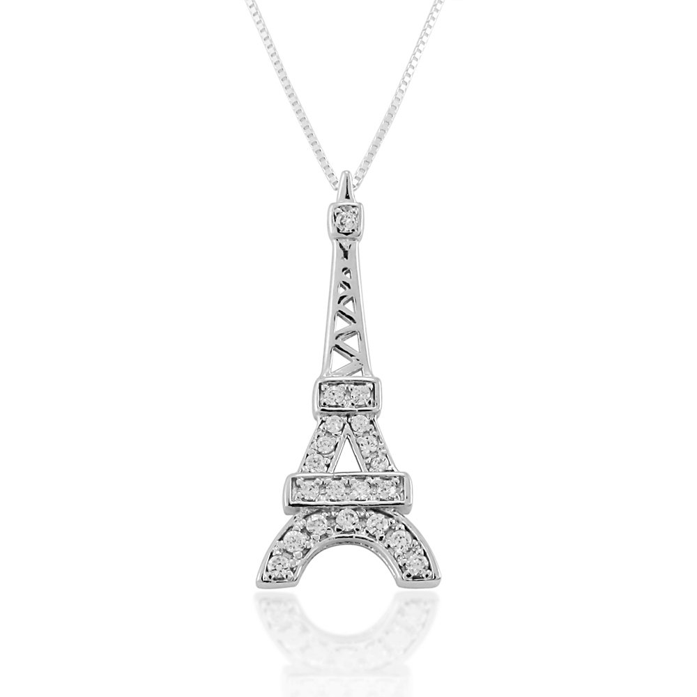 18 inches Chuvora 925 Sterling Silver Clear Cubic Zirconia CZ Eiffel Tower Pendant Necklace