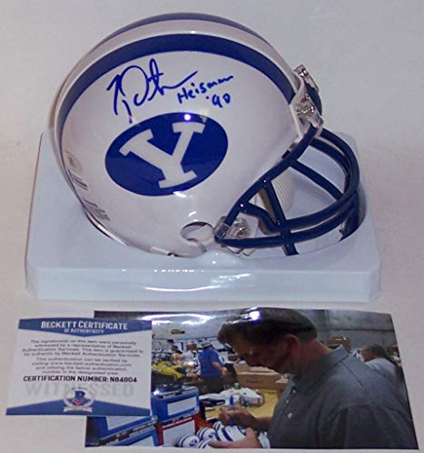 Ty Detmer Autographed Hand Signed Riddell BYU Cougars Mini Football Helmet - with Heisman 90 inscription - BAS Beckett Authentication