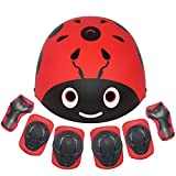 LANOVAGEAR Kids Protective Gear Set,7Pcs Sport Safety Equipment Adjustable Child Helmet Knee Elbow Pads Wrist Guards for Skating Skateboard and Other Sports Outdoor Activities (S, RED)