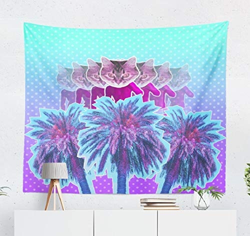 ONELZ Summer-Psychedelic Wall Hanging Tapestry, Contemporary Art Pink Neon Sculpture with Cat Head and Palm Decor Collection Bedroom Living Room 60