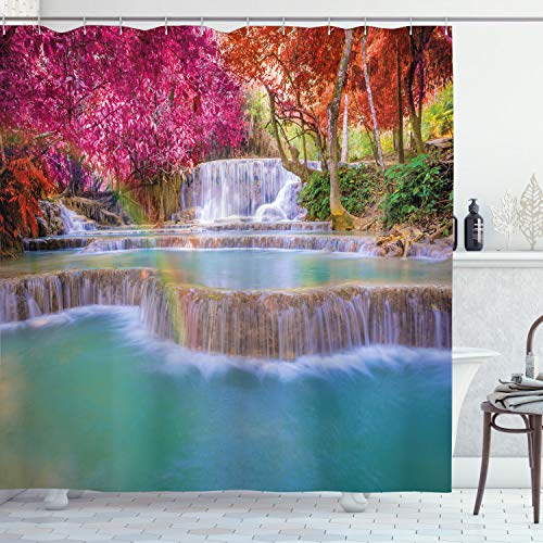 Ambesonne Waterfall Shower Curtain, Rain Forest in Vietnam Laos with South Pink and Orange Trees Side of River Image, Cloth Fabric Bathroom Decor Set with Hooks, 75