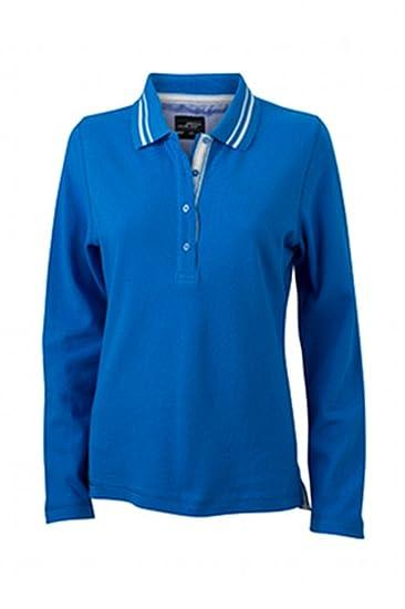 James & Nicholson Poloshirt Ladies Long-Sleeve Polo, Azul (Cobalt ...