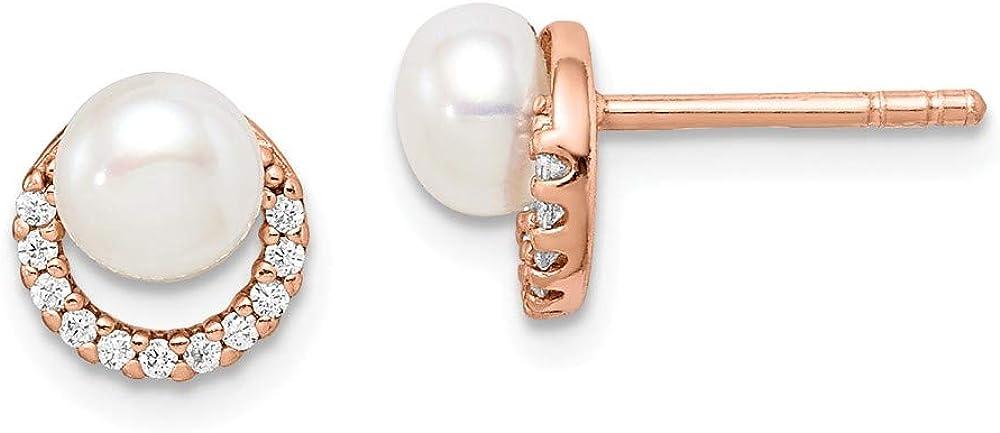 Saris and Things Sterling Silver Rose-Tono con Perlas cultivadas de Agua Dulce y Pendientes Zirconia cúbico