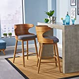 Great Deal Furniture | Truda Mid Century Modern Fabric Barstools | Set of 2 | in Light Grey For Sale
