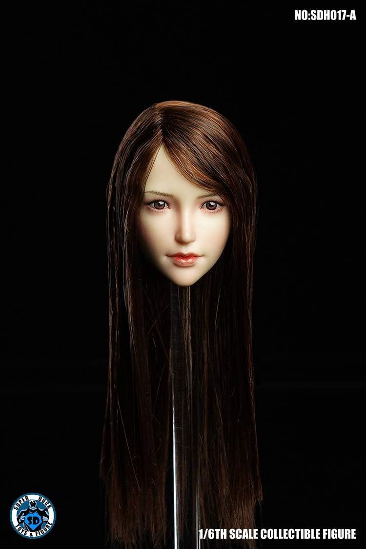 SUPER DUCK 1//6 SDH015A Pale Head Sculpt Black Hair Model F 12/'/' Female Figure