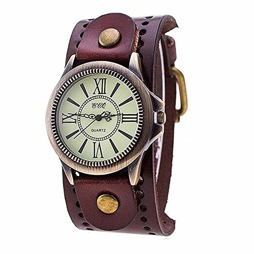 Leather 70's Watch Band (MINILUJIA 70'S Vintage Men Watch Bronze Big Face Dial with Genuine Leather Brand Brown)