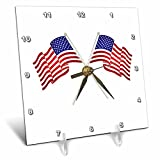 3dRose Andrea Haase Patriotic Art - America Flag Patriotic 4th July Celebration Art - 6x6 Desk Clock (dc_282614_1)