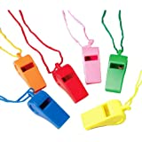 Lot Of 12 Assorted Color Whistles With Lanyards