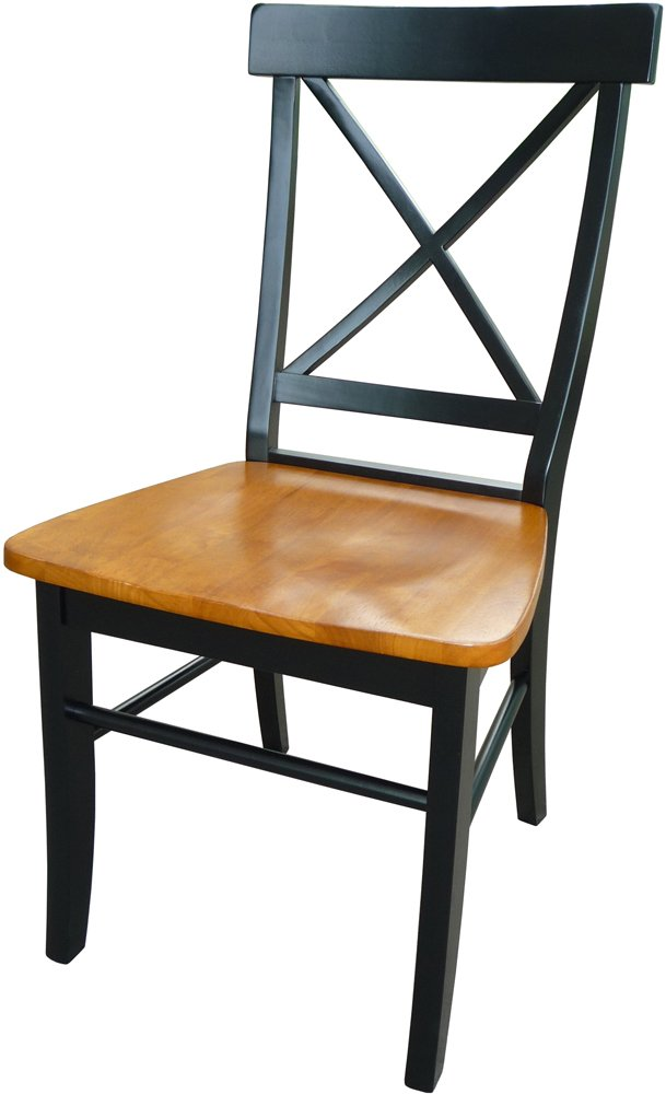 Black Cherry,set of 2 International Concepts C46-613 Pair of X-Back Chairs with Solid Wood Seats, Black