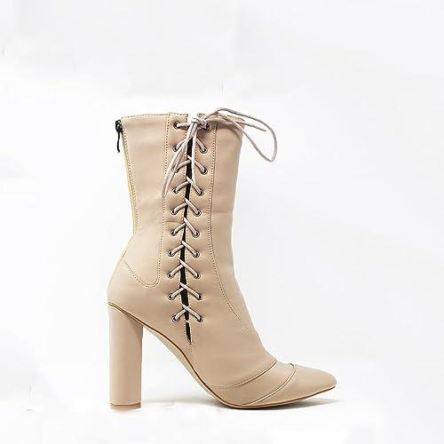 39256f5e8f Vivian Ladies Women High Block Heel Side Detail Lace Up Lycra Like Fit Back  Zip Ankle