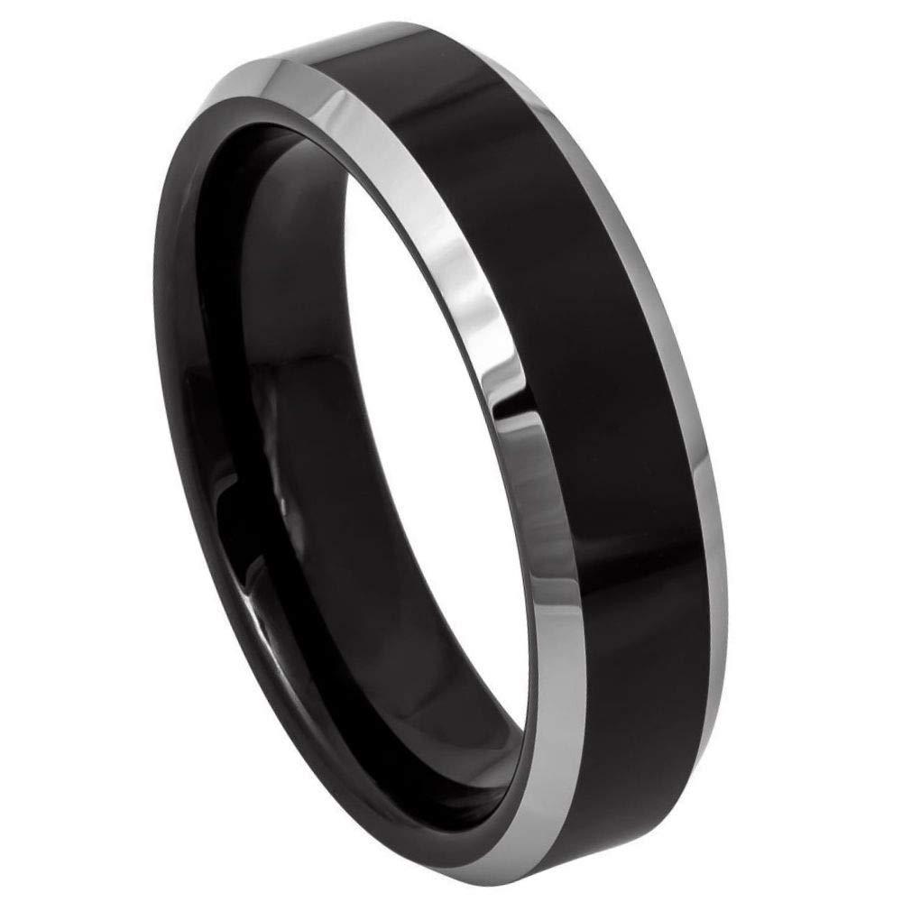 TosowebOnline Unisex 6mm Polished Finish 2-Tone Black IP Beveled Edge Comfort Fit Tungsten Carbide Anniversary Ring