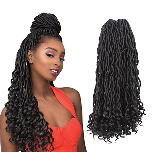Price comparison product image Goddess Locs Hair Wavy Body Curly Ends Faux Locs Crochet Hair Natural Black Synthetic Hair Extension Soft and Bouncy Crochet Braids(6packs,1B#)