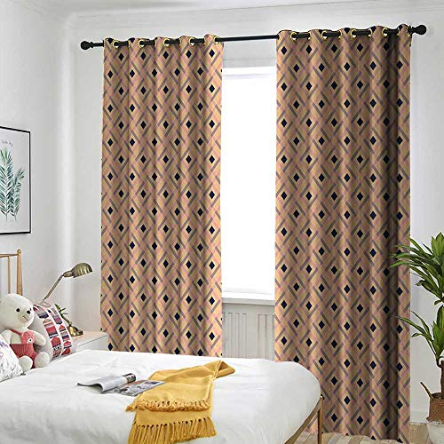 TRTK Blackout Lined Curtains Sun Visor in Bedroom Living Room Argyle,Diagonal Stripes and Rhombuses Geometric Composition Pastel Colors,Peach Navy Blue Pale Pink