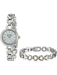Women's 75/5485MPTTST Swarovski Crystal Accented Two-Tone Watch and Bracelet Set