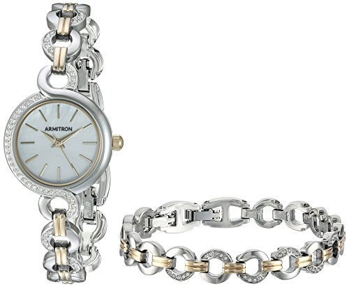 Armitron Women's 75/5485MPTTST Swarovski Crystal Accented Two-Tone Watch and Bracelet Set