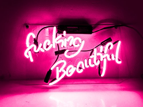 Neon Signs Neon Sign Neon Light Sign for Wall Decor Bedroom Beer Bar Love Led Light Up Lamp Garage Halloween Signs (Pink/Fucking Beautiful) ()
