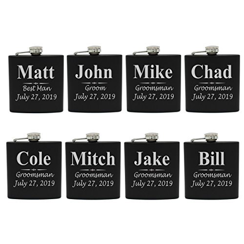 Set of 1, 2, 3, 4, 5, 6, 7, 8 Personalized Black Flask - Custom Engraved Groomsmen, Best Man, Groom Gift Flasks - 3 Lines Style (8) (Best Man Groomsmen Gifts)