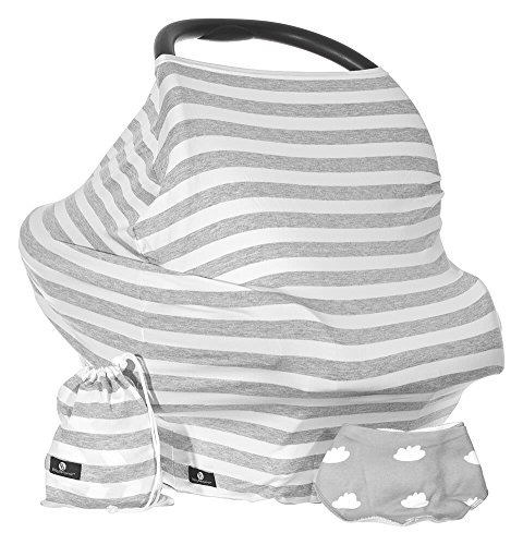 Baby Benjamin Car Seat and Nursing Cover with Bib and Drawstring Bag, Grey