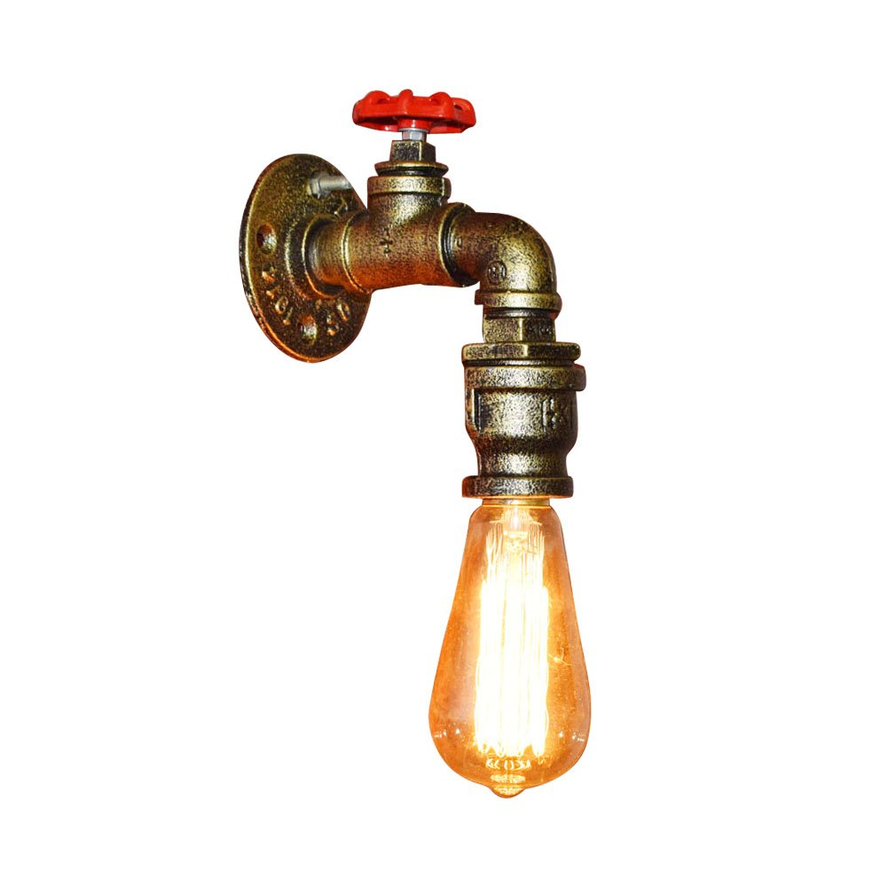 Fuloon Vintage Metal Loft Pipe Wall Light Lamp Retro Industrial Cafe Bar Wall Sconce E27 Lamp Base (bulb not included) (1 of Set)