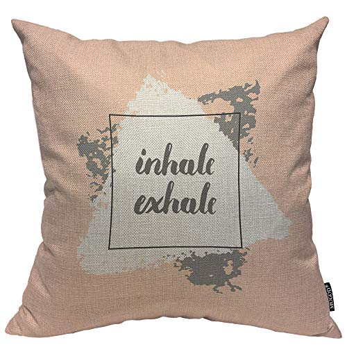 Cover A867 - Mugod Written Inhale Exhale Decorative Pillow Case Abstract Lettering Motivational Creative Pattern Throw Pillow Cover Home Decor Cotton Linen Square Cushion Cover for Couch Bed Sofa 20X20 Inch