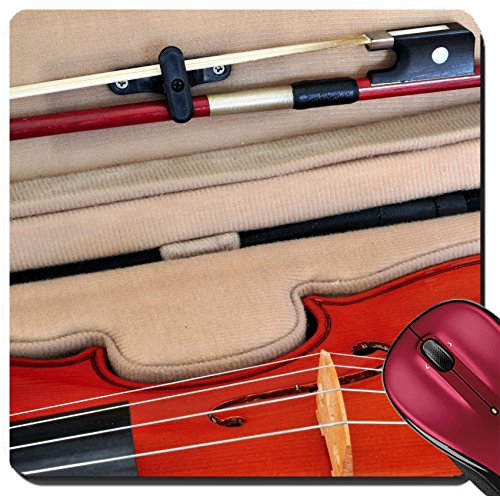Tuner Board - Liili Suqare Mousepad 8x8 Inch Mouse Pads/Mat Viola in its case showing f holes bridge fingerboard tailpiece with fine tuners and bow Image ID 22013282
