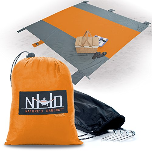 Oversized Sand-Free Beach Blanket - SilNylon Keeps You 100% Dry On Wet Sand & Grass. Large 10 x 9 and Ultralight. Sand Proof + Waterproof Beach Throw Blanket. 6 Pockets 4 Windproof Stakes (Orange)