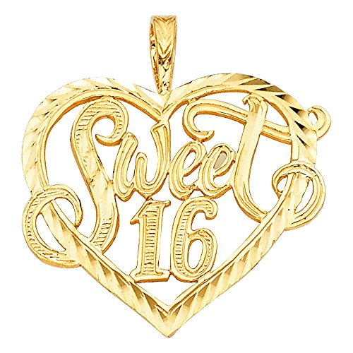 Solid 14k Yellow Gold Sweet 16 Heart Pendant Birthday Love Charm Polished Diamond Cut 22 x 25 mm - Gold Sweet 16 Heart Charm
