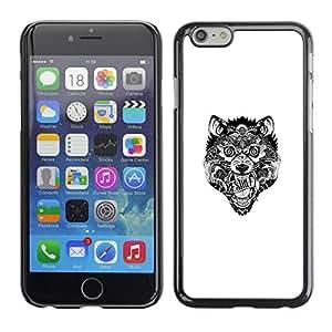 EJOY---Cubierta de la caja de protección la piel dura para el ** iPhone 6 ** --Lobo tribal loco