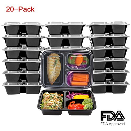 Meal Prep Containers [20 Pack] 3 Compartment with Lid, Kitchen Komforts BPA Free Plastic Reusable Food Storage Bento Box , Microwave, Dishwasher& Freezer Safe, Portion Control 21 Day, Fix 34 Oz