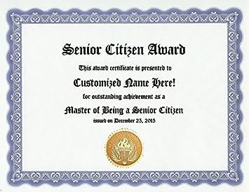 amazon com senior citizen award personalized custom old age award
