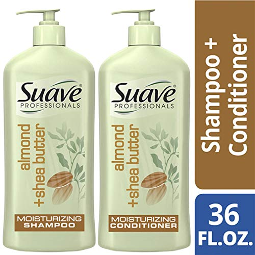 (SUAVE HAIR Professionals Almond + Shea Butter Moisturizing Shampoo And Conditioner, 18 Ounce)