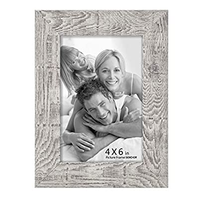Boichen 4x6(6Pack),5x7(6pack),8x10(4Pack),11x14(2pack) Picture Frame Reclaimed Wood Finish High Definition Glass Tabletop or Wall,Woodgrain Photo Frames