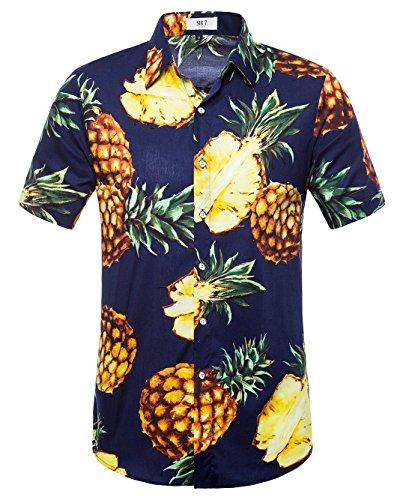 (SIR7 Men's Pineapple Button Down Short Sleeve Casual Hawaiian Shirt Navy M)