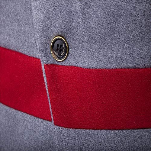 AmaSells Jacket Men's Men Long Lapel Winter Gray Jacket Overcoat Woolen Windbreaker Long Button Medium Warm Trench Outerwear Smart Overcoat Mens Coat 4trwq4