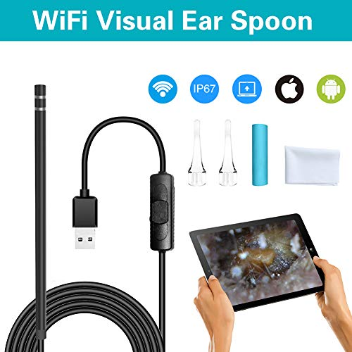 XZYP Ear Endoscope, 3 in 1 Wireless Ear Otoscope,1.3 MP Digital Ear Inspection Camera Earwax Cleaning Tool with 6 Adjustable LEDs for iPhone and Android Smartphone, Windows