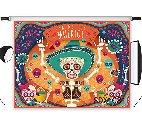 LB 7x5ft Dia De Los Muertos Photography Backdrop Mexico Sugar Skull Day of The Dead Photo Background All Souls Day Studio Prop Customized SDX1081]()