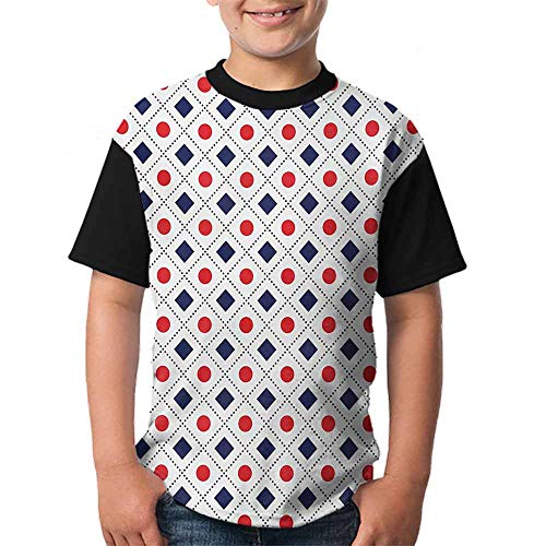 (Americana Trend t-Shirt Big Red Dots Squares and Dashed Cross Lines in Flag Colors Print Size:XL Navy Blue Red and White)