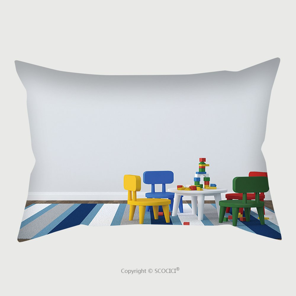 Custom Satin Pillowcase Protector Childs Play Table On A Striped Rug In A Simple Room_156989926 Pillow Case Covers Decorative