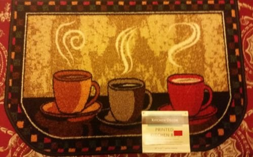 The Pecan Man 3 Hot Coffee Cups KITCHEN RUG (non skid latex back),1Pcs 16x24