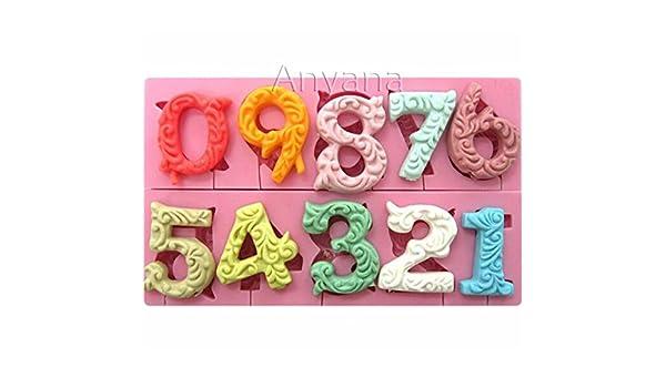 Con letras del alfabeto número 0-9 3d silicona para piruletas de ...