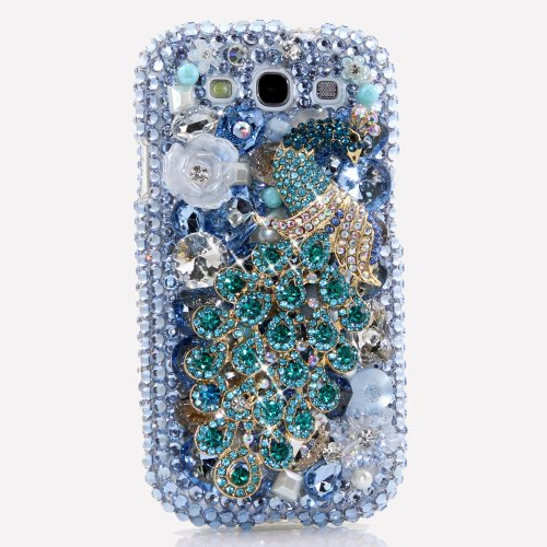 Samsung Galaxy S4 I9500 Luxury 3d Bling Case - Gorgeous Sea Blue Green Peacock Princess Dance Design - Swarovski Crystal Diamond Sparkle Girly Protective Cover Faceplate (100% Handcrafted By Star33mall)